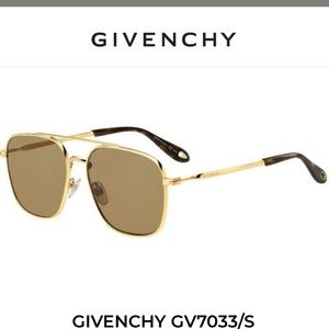 Givenchy square gold frame sunglasses.